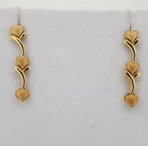 18ct (750) Yellow Gold Triple Heart Drop Stud Earrings