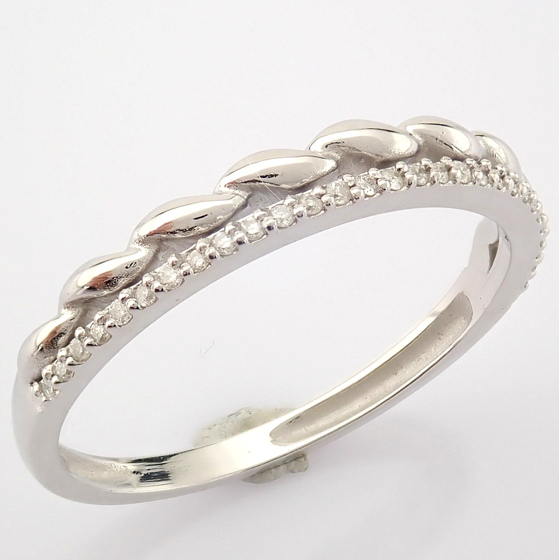 HRD Antwerp Certified 14K White Gold Diamond Ring (Total 0.07 Ct. Stone) 14K White Gold Ring - Image 2 of 9