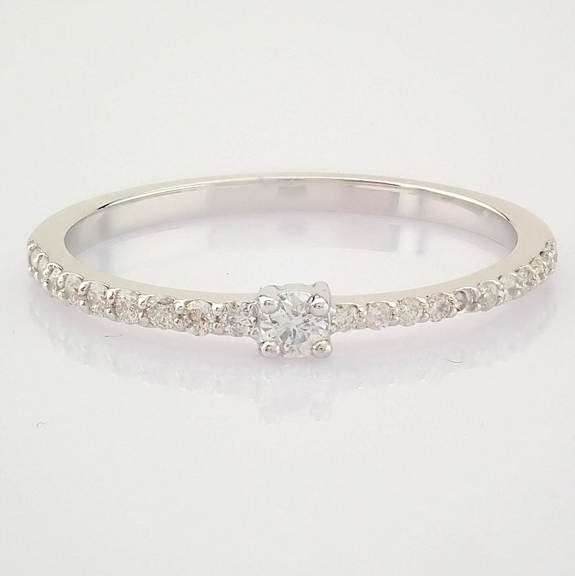 HRD Antwerp Certified 14K White Gold Diamond Ring (Total 0.11 Ct. Stone) 14K White Gold Ring - Image 4 of 9