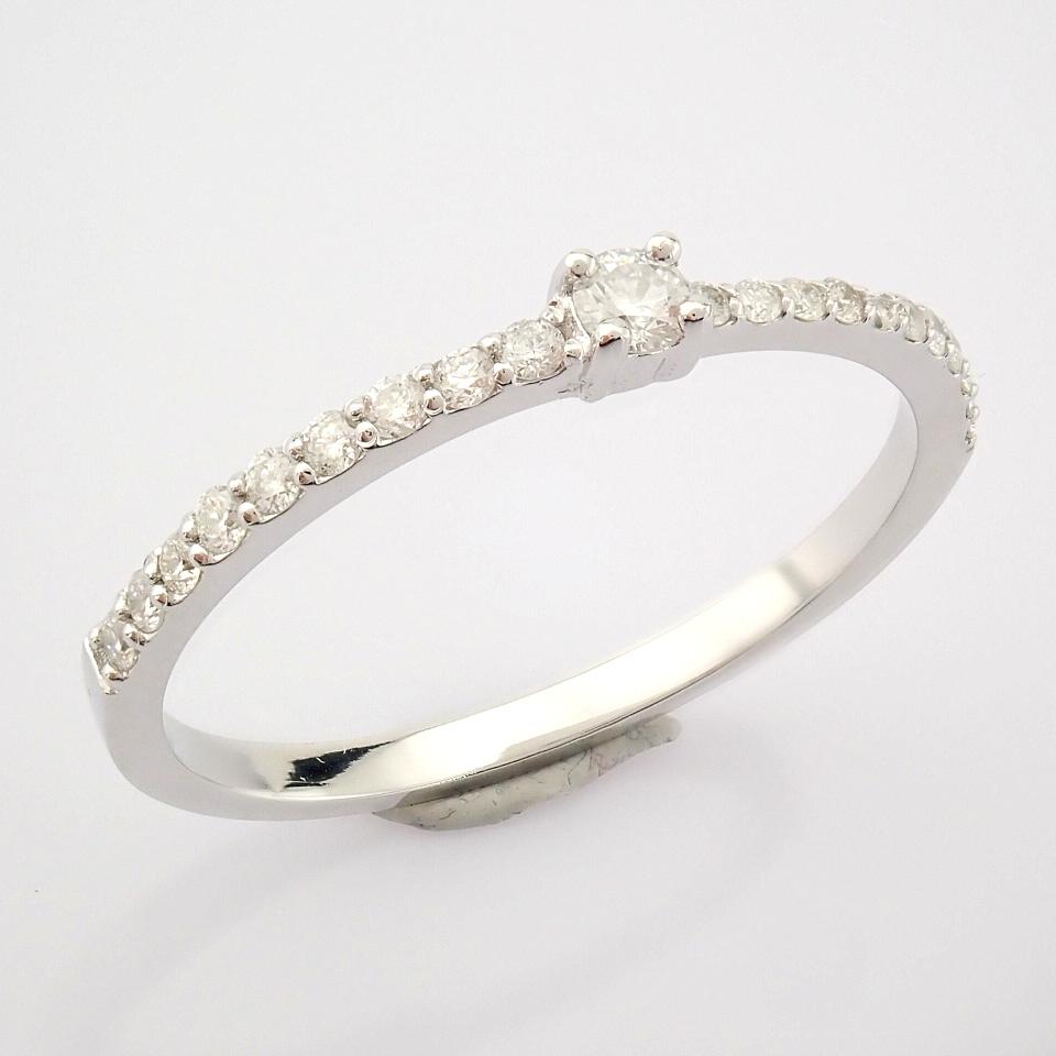 HRD Antwerp Certified 14K White Gold Diamond Ring (Total 0.11 Ct. Stone) 14K White Gold Ring - Image 3 of 9