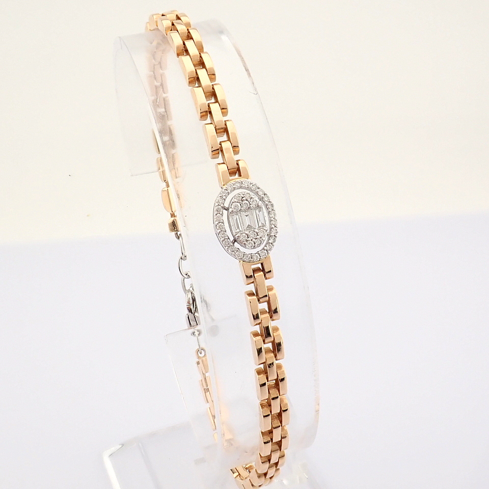 HRD Antwerp Certified 14K White and Rose Gold Diamond Bracelet (Total 0.3 Ct. Stone) 14K White and - Image 12 of 14