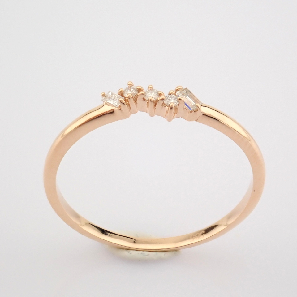 HRD Antwerp Certified 14K Rose/Pink Gold Baguette Diamond & Diamond Ring (Total 0.07 Ct. Ston... 14K - Image 7 of 8
