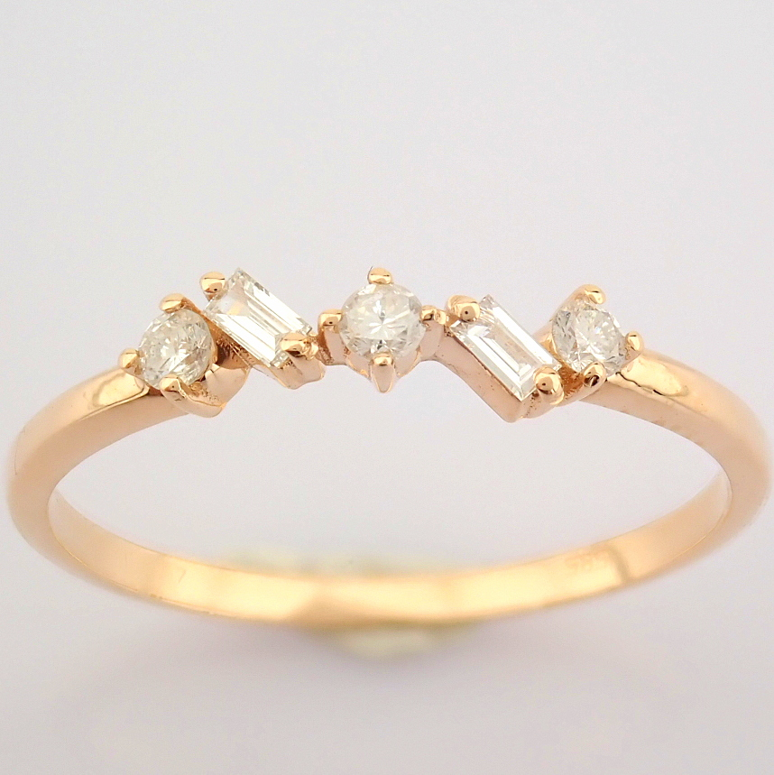 HRD Antwerp Certified 14K Rose/Pink Gold Baguette Diamond & Diamond Ring (Total 0.14 Ct. Ston... 14K - Image 5 of 9
