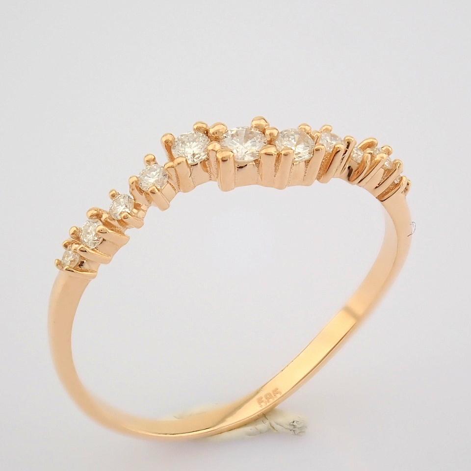 HRD Antwerp Certified 14K Rose/Pink Gold Diamond Ring (Total 0.21 Ct. Stone) 14K Rose/Pink Gold Ring - Image 4 of 10