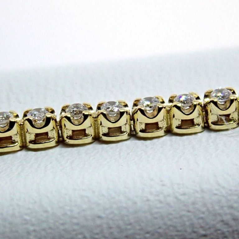 HRD Antwerp Certified 0,91 Ct. Diamond Tennis Bracelet 14K 4,00 g Yellow Gold 0,91 Ct. H/Vs Diamond, - Image 3 of 5