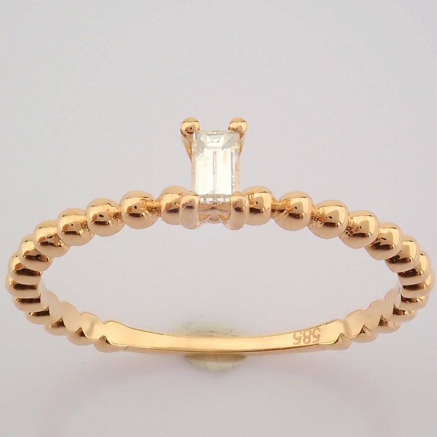 HRD Antwerp Certified 14K Rose/Pink Gold Baguette Diamond Ring (Total 0.09 Ct. Stone) 14K Rose/ - Image 7 of 9