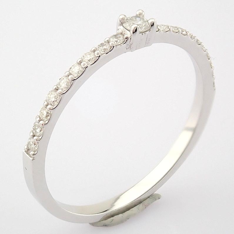 HRD Antwerp Certified 14K White Gold Diamond Ring (Total 0.11 Ct. Stone) 14K White Gold Ring - Image 2 of 9