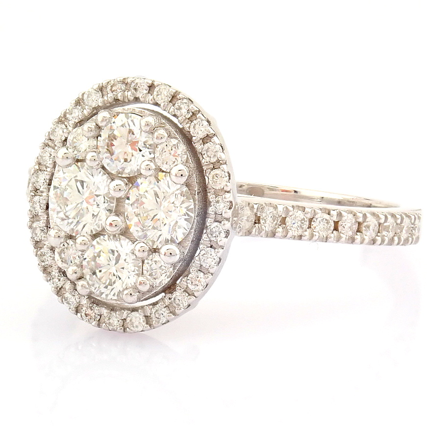 HRD Antwerp Certified 18K White Gold Diamond Ring (Total 0.89 Ct. Stone) 18K White Gold Ring - Image 7 of 13