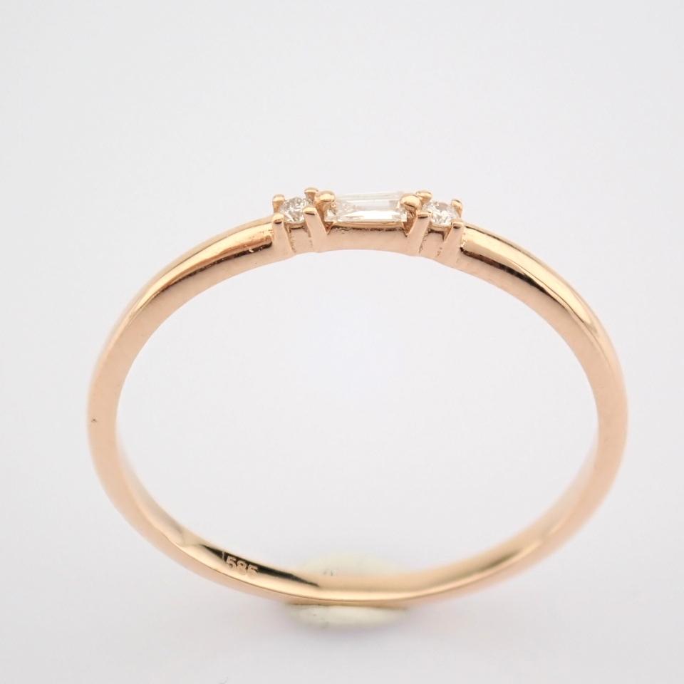 HRD Antwerp Certified 14K Rose/Pink Gold Baguette Diamond & Diamond Ring (Total 0.04 Ct. Ston... 14K - Image 7 of 9