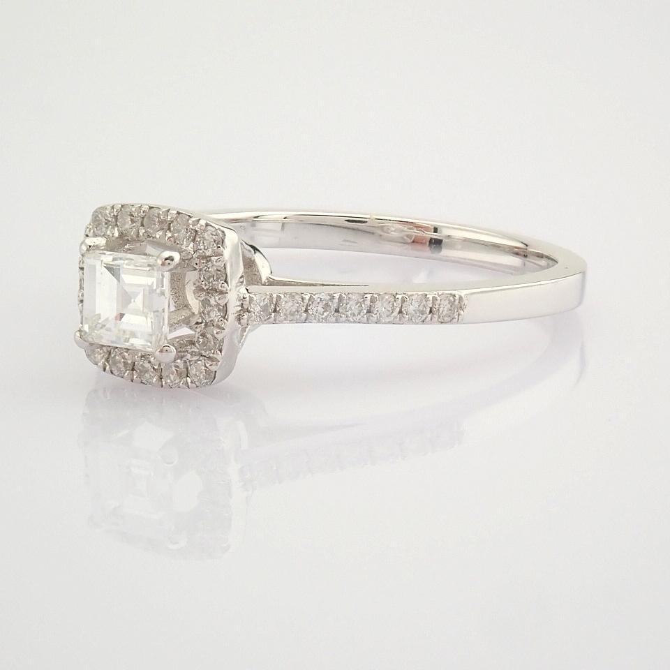 HRD Antwerp Certified 18K White Gold Princess Cut Diamond & Diamond Ring (Total 0.52 Ct. Ston... 18K - Image 5 of 9