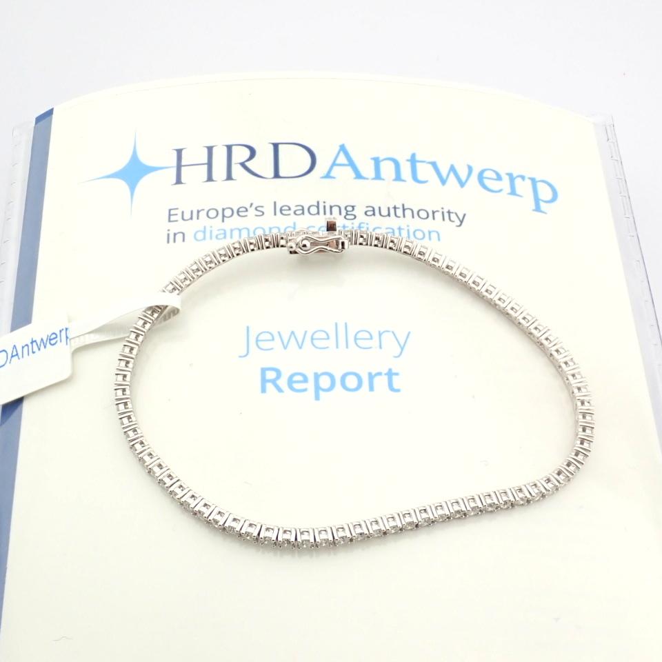HRD Antwerp Certified 14K White Gold Diamond Bracelet (Total 2.06 Ct. Stone) 14K White Gold Bracelet - Image 6 of 10