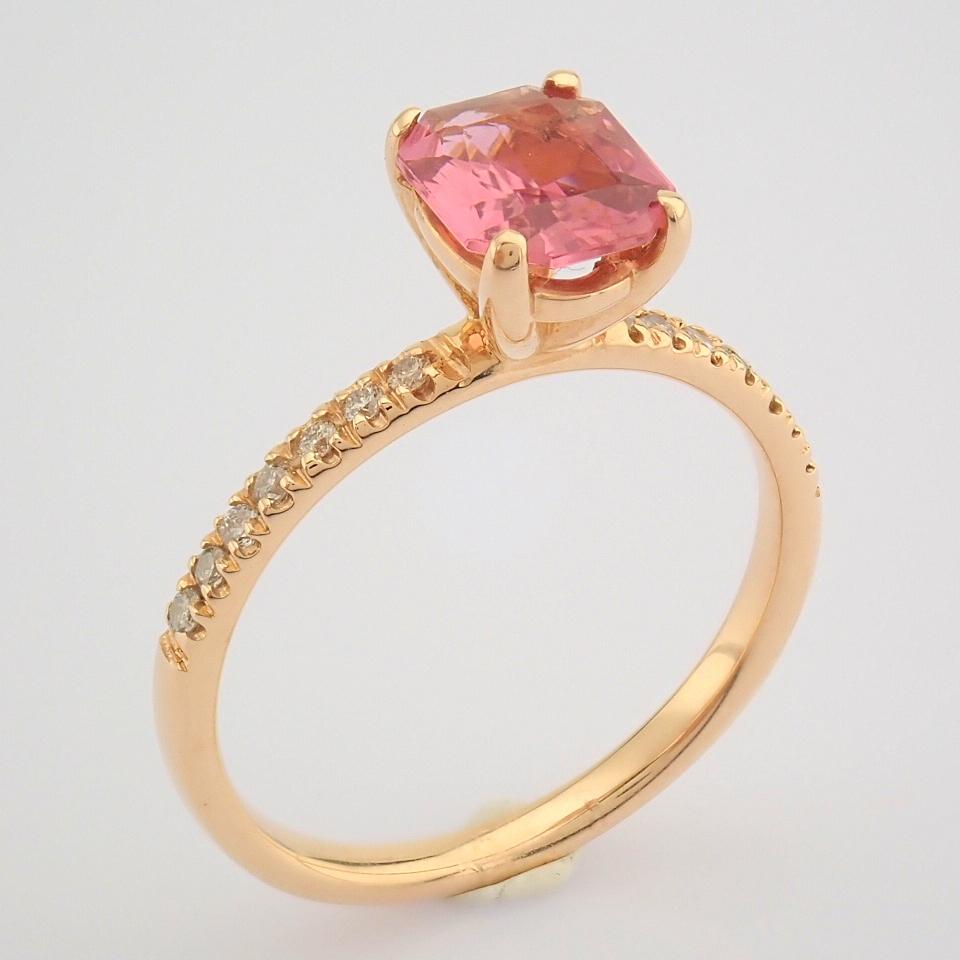 HRD Antwerp Certified 14K Rose/Pink Gold Diamond & Tourmaline Ring (Total 0.83 Ct. Stone) 14K Rose/ - Image 3 of 8