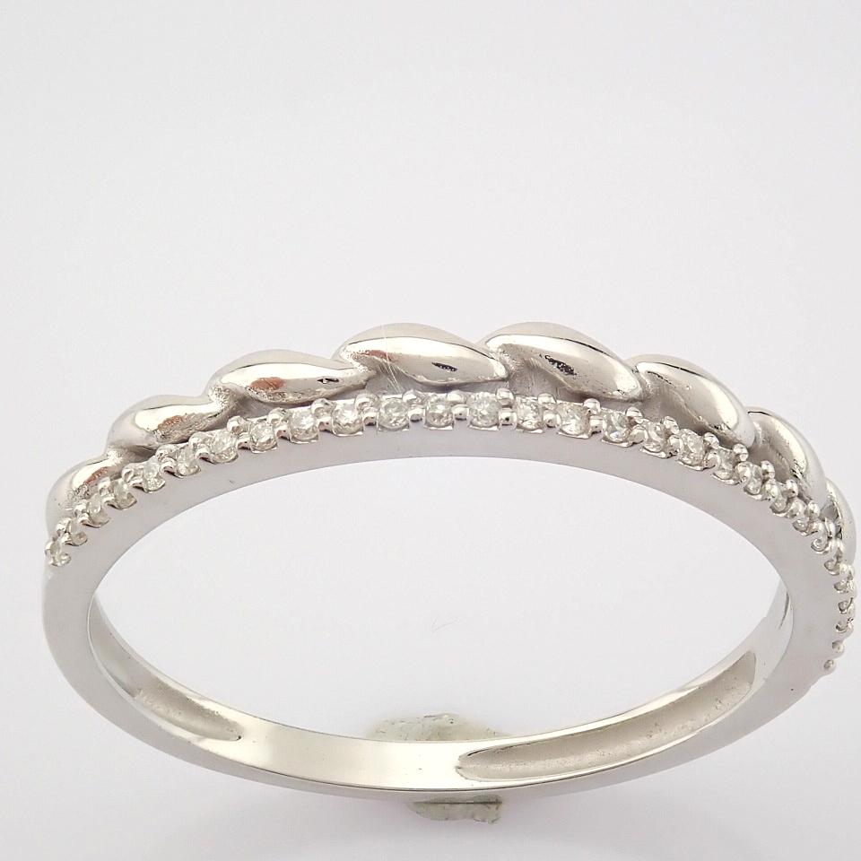 HRD Antwerp Certified 14K White Gold Diamond Ring (Total 0.07 Ct. Stone) 14K White Gold Ring