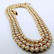 HRD Antwerp Certified 2,02 Ct. Diamond Tennis Eternity Necklace 14K 8,50 g Yellow Gold 2,02 Ct. H/Vs