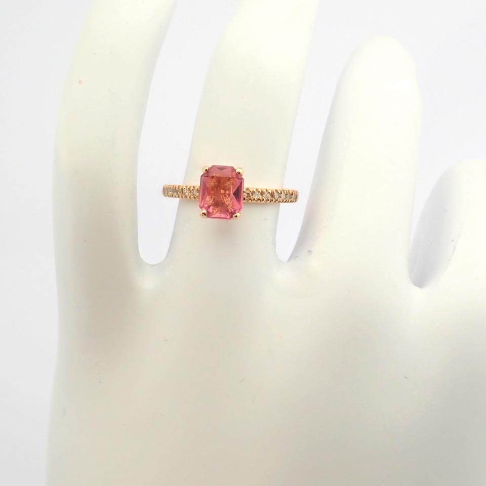 HRD Antwerp Certified 14K Rose/Pink Gold Diamond & Tourmaline Ring (Total 0.83 Ct. Stone) 14K Rose/ - Image 7 of 8