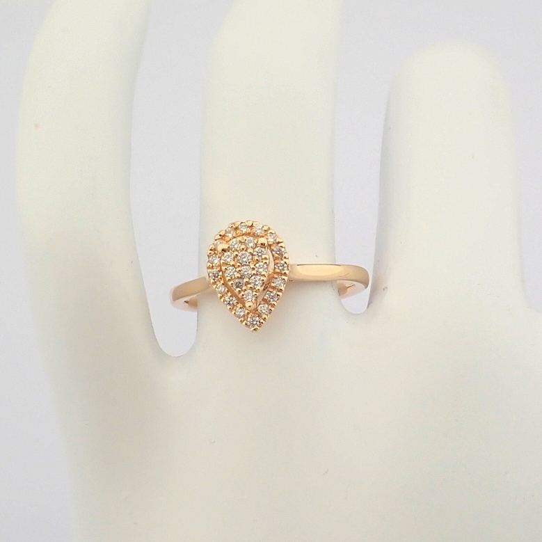 HRD Antwerp Certified 14K Rose/Pink Gold Diamond Ring (Total 0.16 Ct. Stone) 14K Rose/Pink Gold Ring - Image 3 of 7