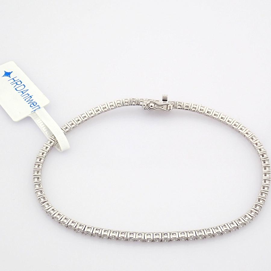 HRD Antwerp Certified 14K White Gold Diamond Bracelet (Total 2.06 Ct. Stone) 14K White Gold Bracelet - Image 9 of 10