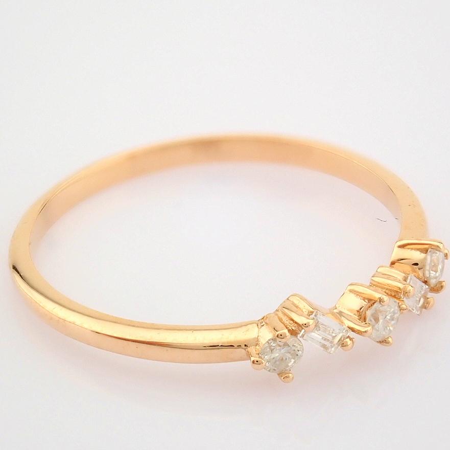 HRD Antwerp Certified 14K Rose/Pink Gold Baguette Diamond & Diamond Ring (Total 0.14 Ct. Ston... 14K - Image 2 of 9
