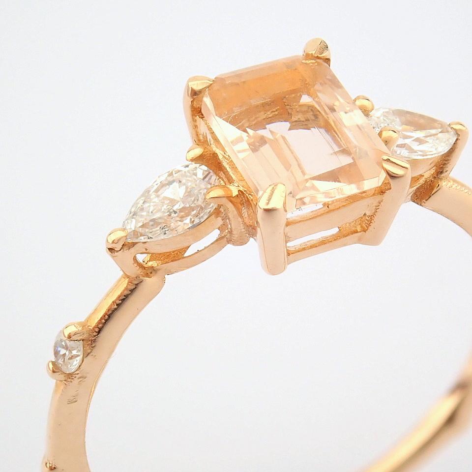 HRD Antwerp Certified 14k Rose/Pink Gold Diamond Ring (Total 0.98 Ct. Stone) 14k Rose/Pink Gold Ring - Image 6 of 11