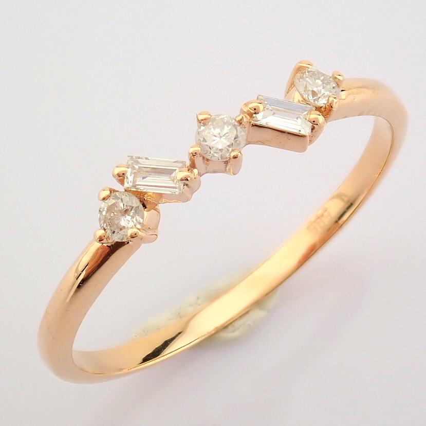 HRD Antwerp Certified 14K Rose/Pink Gold Baguette Diamond & Diamond Ring (Total 0.14 Ct. Ston... 14K - Image 7 of 9