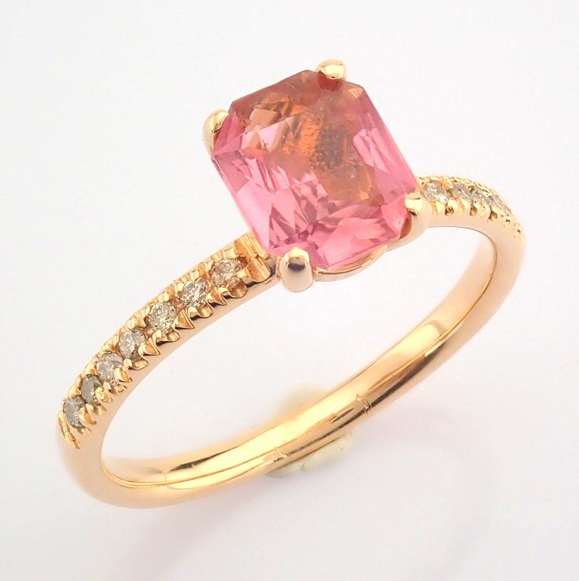 HRD Antwerp Certified 14K Rose/Pink Gold Diamond & Tourmaline Ring (Total 0.83 Ct. Stone) 14K Rose/ - Image 2 of 8
