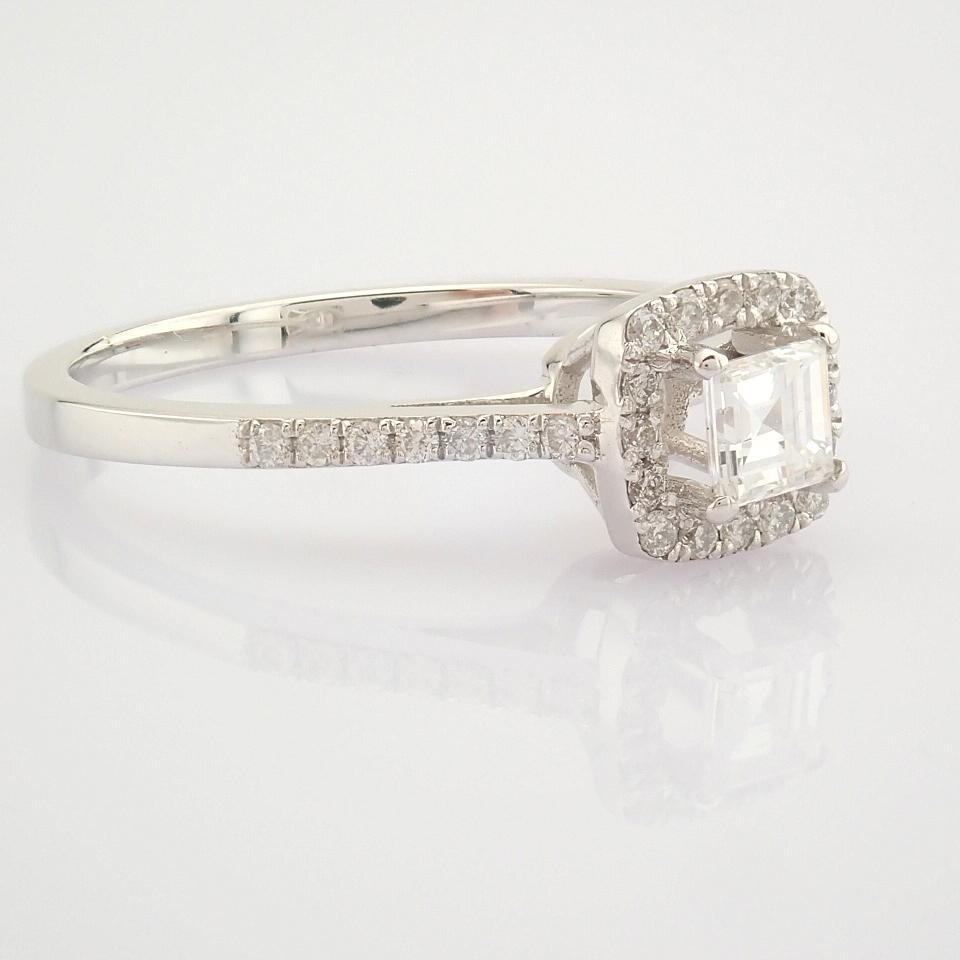 HRD Antwerp Certified 18K White Gold Princess Cut Diamond & Diamond Ring (Total 0.52 Ct. Ston... 18K - Image 6 of 9