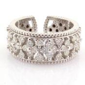 HRD Antwerp Certified 18k White Gold Diamond Ring (Total 0.89 Ct. Stone) 18k White Gold Ring