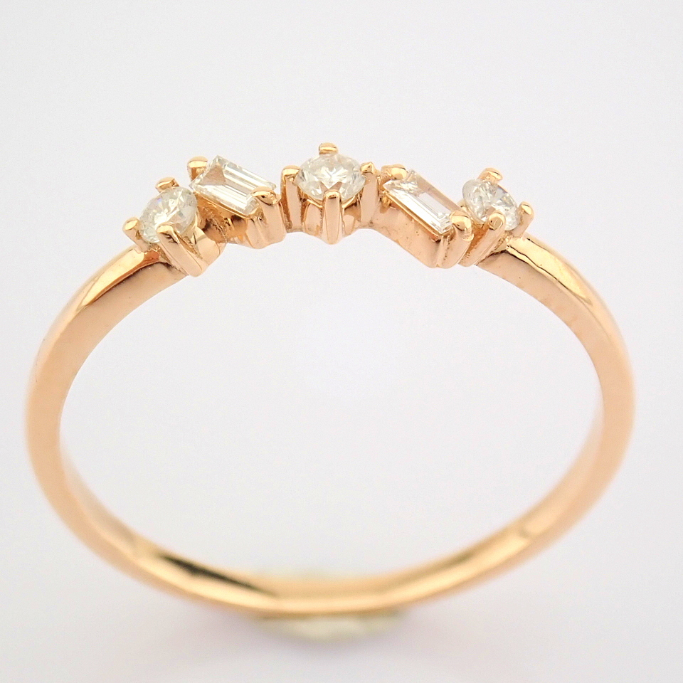 HRD Antwerp Certified 14K Rose/Pink Gold Baguette Diamond & Diamond Ring (Total 0.14 Ct. Ston... 14K - Image 6 of 9