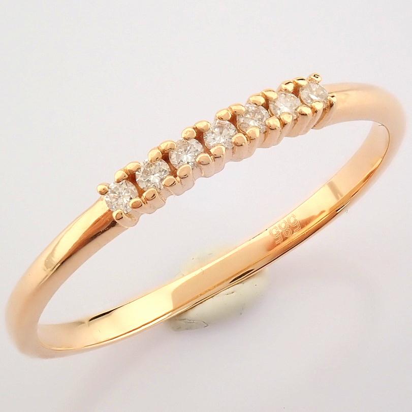 HRD Antwerp Certified 14K Rose/Pink Gold Diamond Ring (Total 0.06 Ct. Stone) 14K Rose/Pink Gold Ring - Image 3 of 9