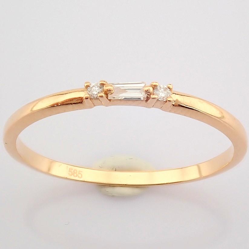 HRD Antwerp Certified 14K Rose/Pink Gold Baguette Diamond & Diamond Ring (Total 0.04 Ct. Ston... 14K - Image 6 of 9