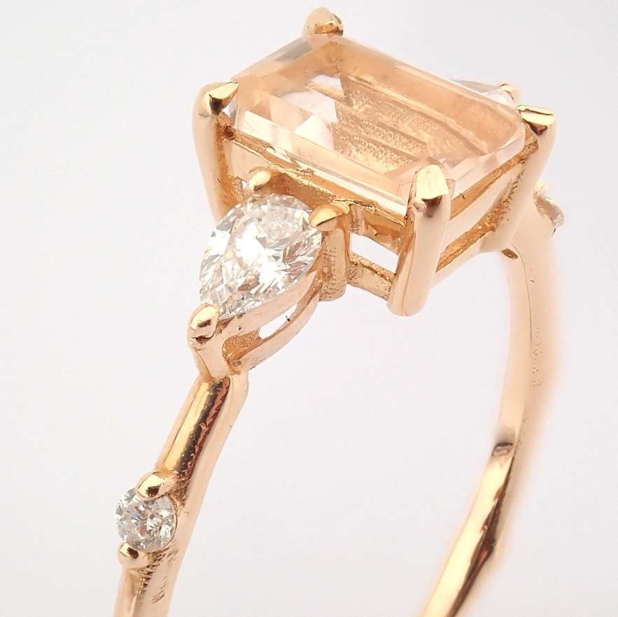 HRD Antwerp Certified 14k Rose/Pink Gold Diamond Ring (Total 0.98 Ct. Stone) 14k Rose/Pink Gold Ring - Image 7 of 11