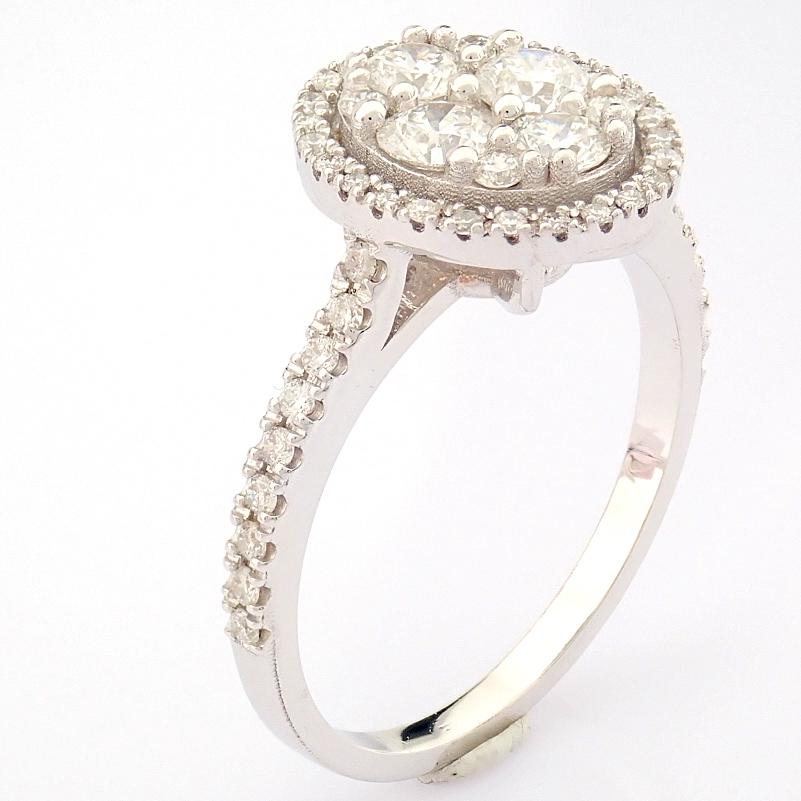 HRD Antwerp Certified 18K White Gold Diamond Ring (Total 0.89 Ct. Stone) 18K White Gold Ring - Image 13 of 13