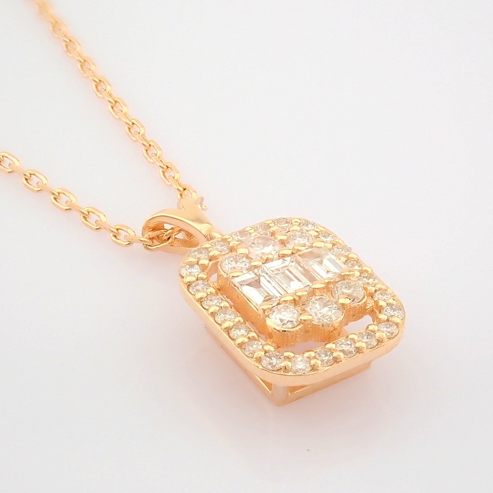HRD Antwerp Certified 14K Rose/Pink Gold Diamond Necklace (Total 0.37 Ct. Stone) 14K Rose/Pink - Image 4 of 12