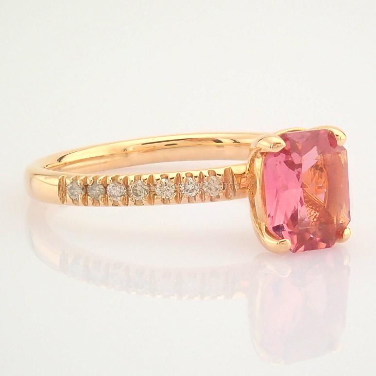 HRD Antwerp Certified 14K Rose/Pink Gold Diamond & Tourmaline Ring (Total 0.83 Ct. Stone) 14K Rose/ - Image 5 of 8
