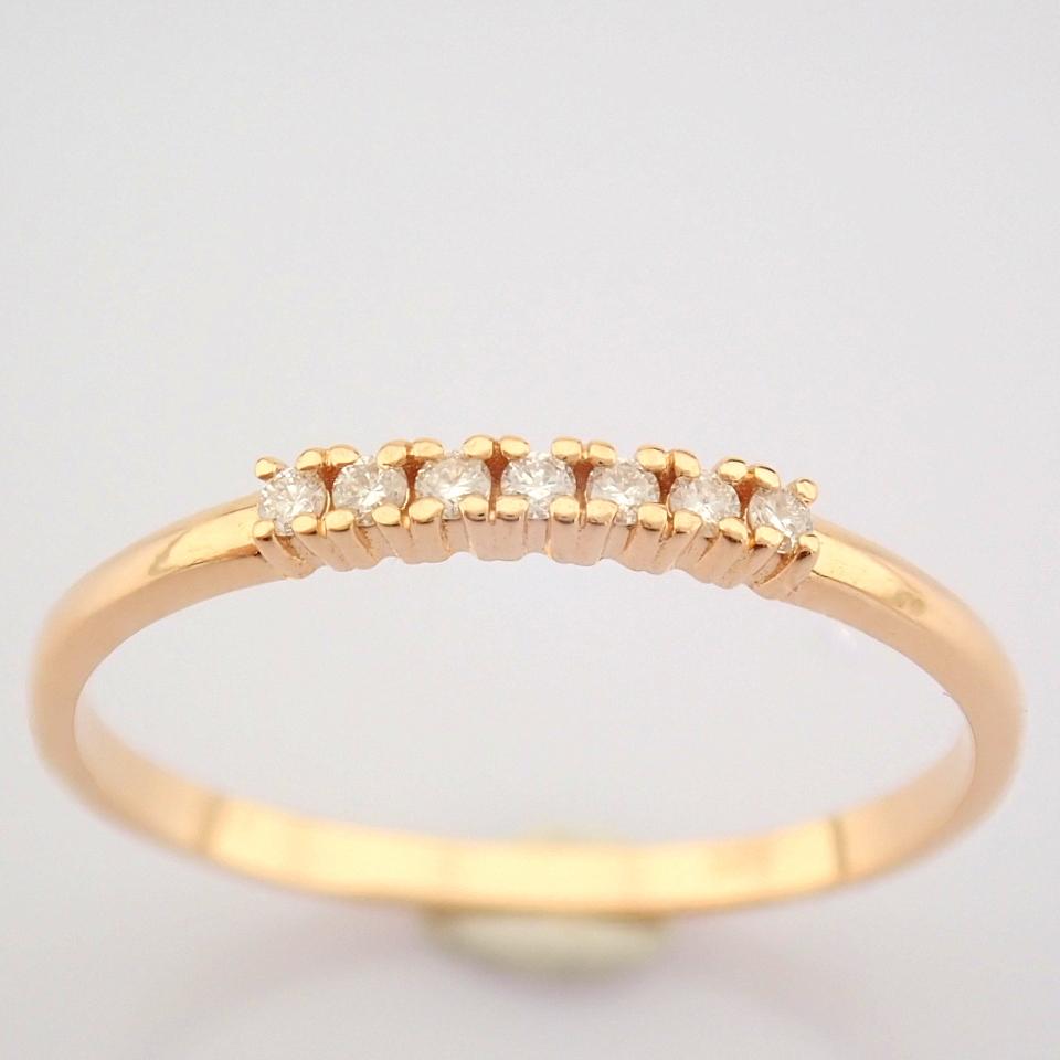 HRD Antwerp Certified 14K Rose/Pink Gold Diamond Ring (Total 0.06 Ct. Stone) 14K Rose/Pink Gold Ring
