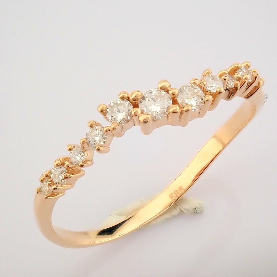 HRD Antwerp Certified 14K Rose/Pink Gold Diamond Ring (Total 0.21 Ct. Stone) 14K Rose/Pink Gold Ring - Image 3 of 10