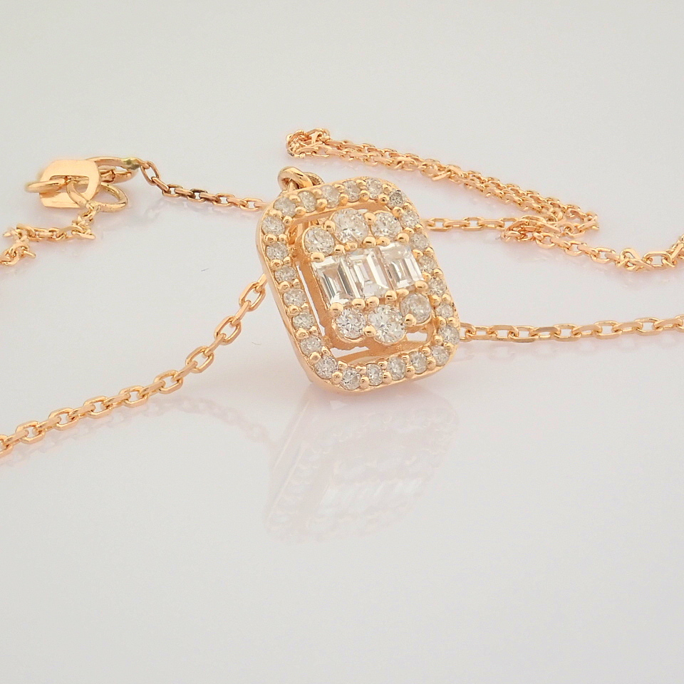 HRD Antwerp Certified 14K Rose/Pink Gold Diamond Necklace (Total 0.37 Ct. Stone) 14K Rose/Pink - Image 12 of 12