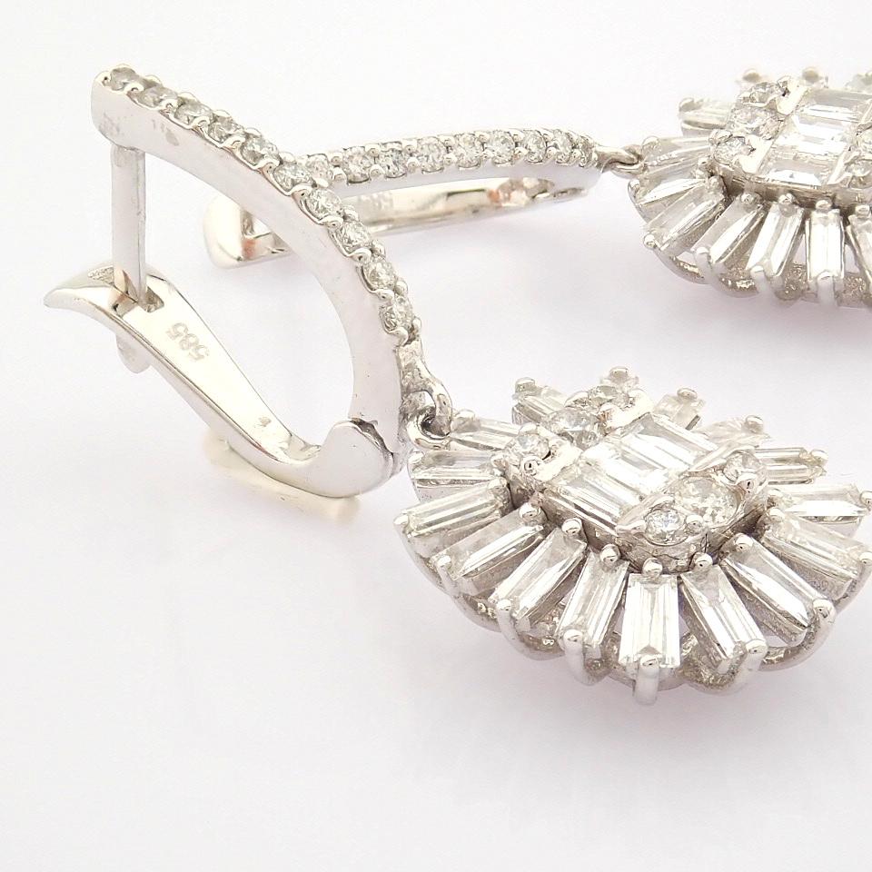 HRD Antwerp Certified 14K White Gold Diamond Earring (Total 1.02 Ct. Stone) 14K White Gold Earring - Image 3 of 8
