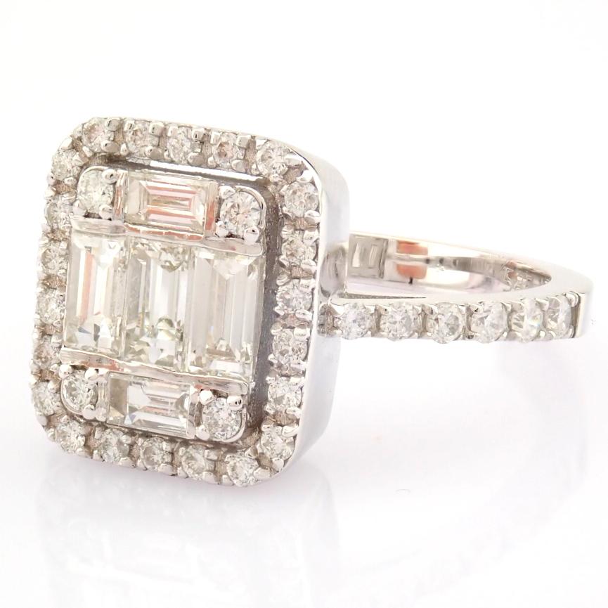 HRD Antwerp Certified 14K White Gold Diamond Ring (Total 1.11 Ct. Stone) 14K White Gold Ring - Image 5 of 12