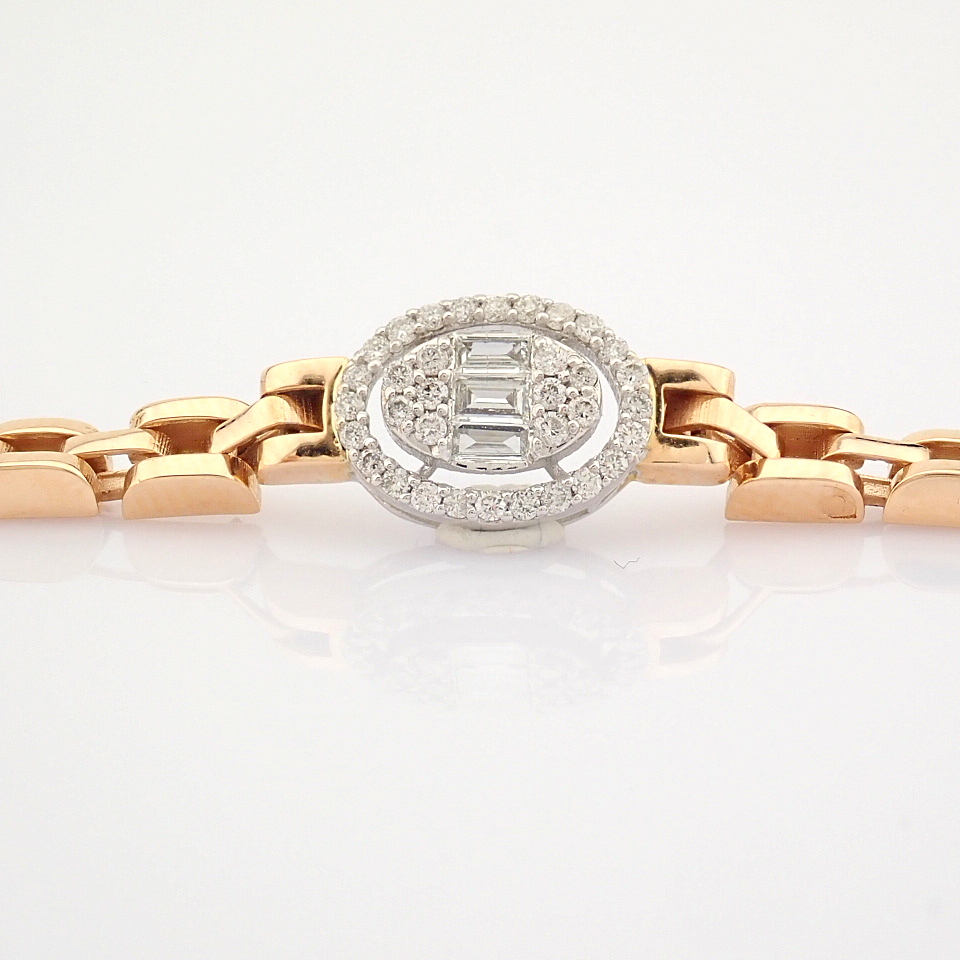 HRD Antwerp Certified 14K White and Rose Gold Diamond Bracelet (Total 0.3 Ct. Stone) 14K White and - Image 6 of 14