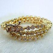 HRD Antwerp Certified 0,91 Ct. Diamond Tennis Bracelet 14K 4,00 g Yellow Gold 0,91 Ct. H/Vs Diamond,