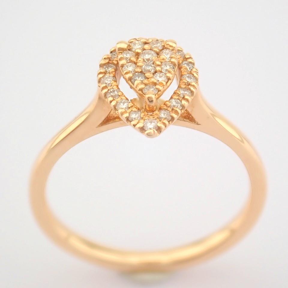 HRD Antwerp Certified 14K Rose/Pink Gold Diamond Ring (Total 0.16 Ct. Stone) 14K Rose/Pink Gold Ring - Image 6 of 7