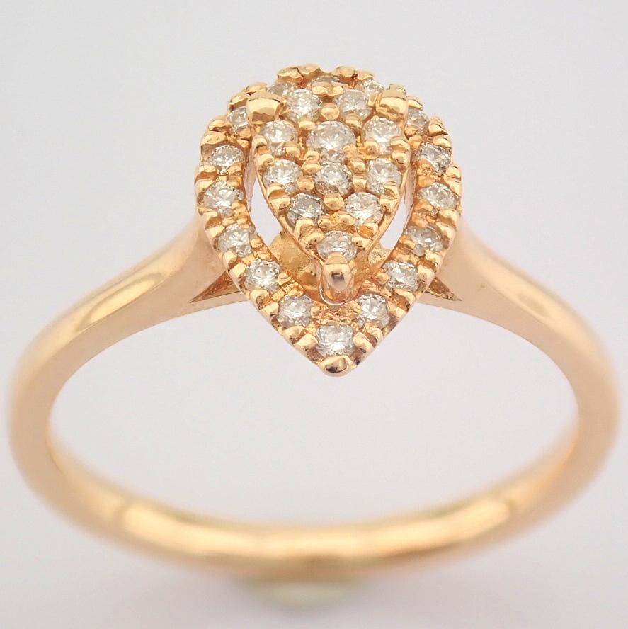 HRD Antwerp Certified 14K Rose/Pink Gold Diamond Ring (Total 0.16 Ct. Stone) 14K Rose/Pink Gold Ring - Image 4 of 7
