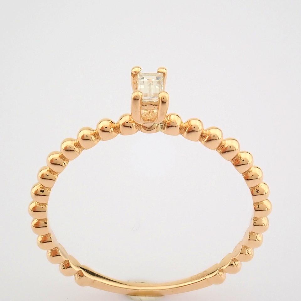 HRD Antwerp Certified 14K Rose/Pink Gold Baguette Diamond Ring (Total 0.09 Ct. Stone) 14K Rose/ - Image 8 of 9