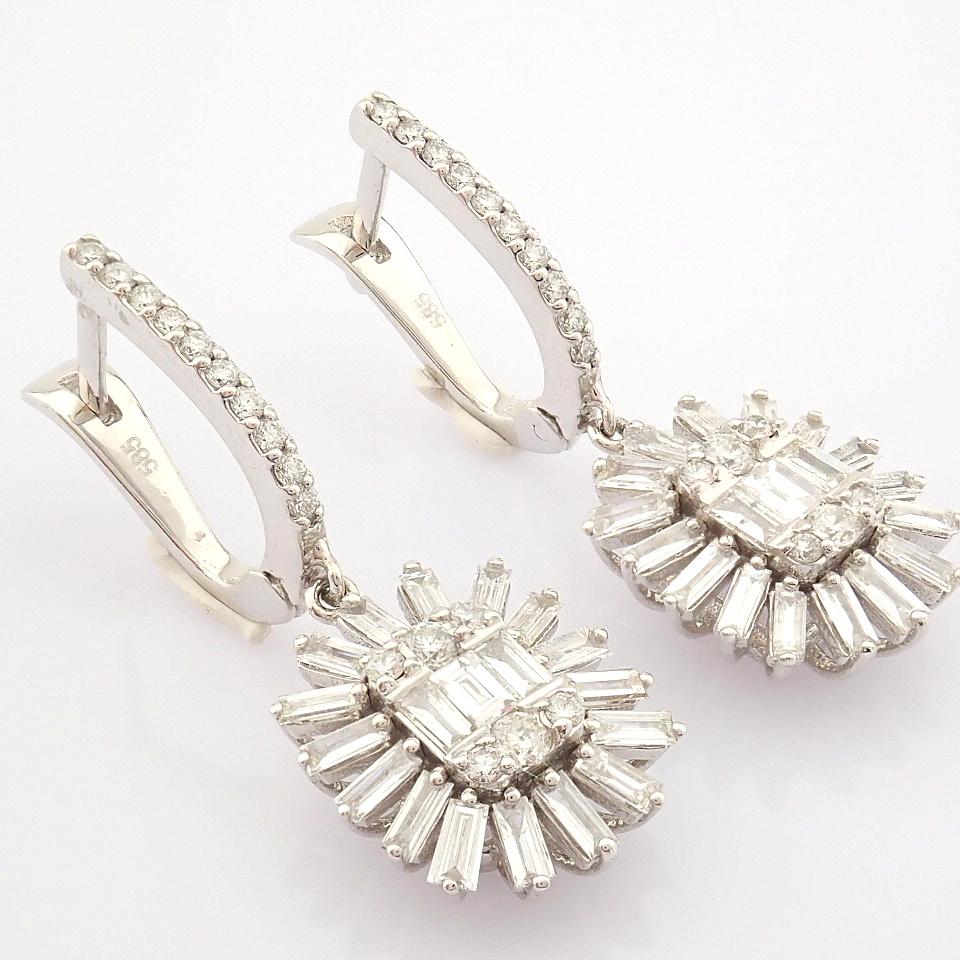 HRD Antwerp Certified 14K White Gold Diamond Earring (Total 1.02 Ct. Stone) 14K White Gold Earring - Image 2 of 8