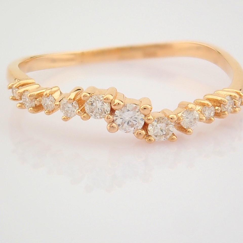 HRD Antwerp Certified 14K Rose/Pink Gold Diamond Ring (Total 0.21 Ct. Stone) 14K Rose/Pink Gold Ring - Image 5 of 10