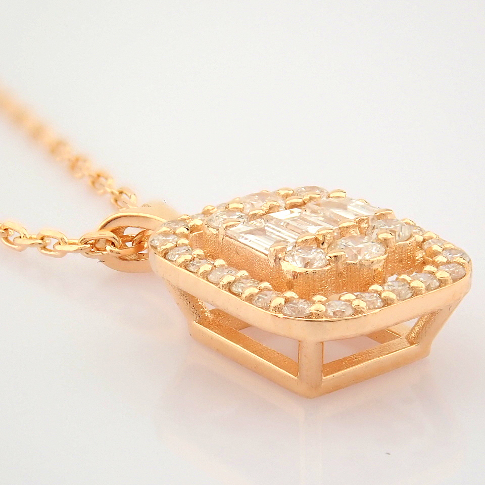 HRD Antwerp Certified 14K Rose/Pink Gold Diamond Necklace (Total 0.37 Ct. Stone) 14K Rose/Pink - Image 5 of 12