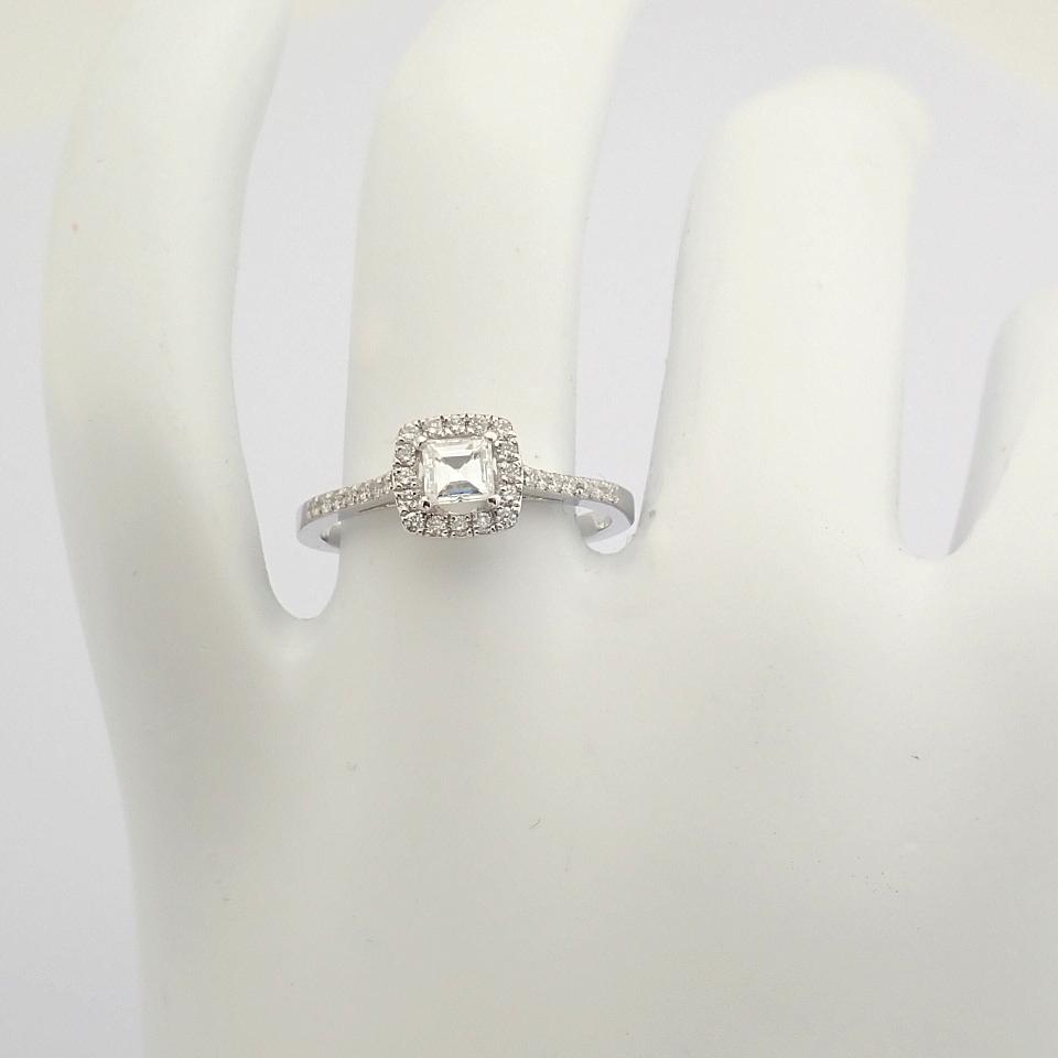 HRD Antwerp Certified 18K White Gold Princess Cut Diamond & Diamond Ring (Total 0.52 Ct. Ston... 18K - Image 8 of 9