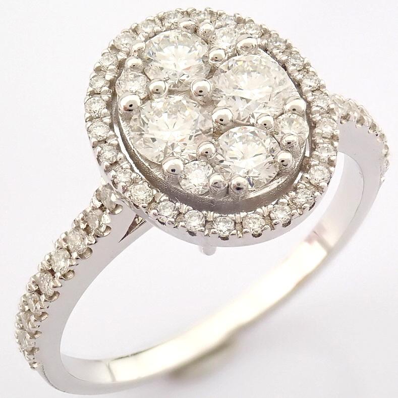 HRD Antwerp Certified 18K White Gold Diamond Ring (Total 0.89 Ct. Stone) 18K White Gold Ring - Image 2 of 13