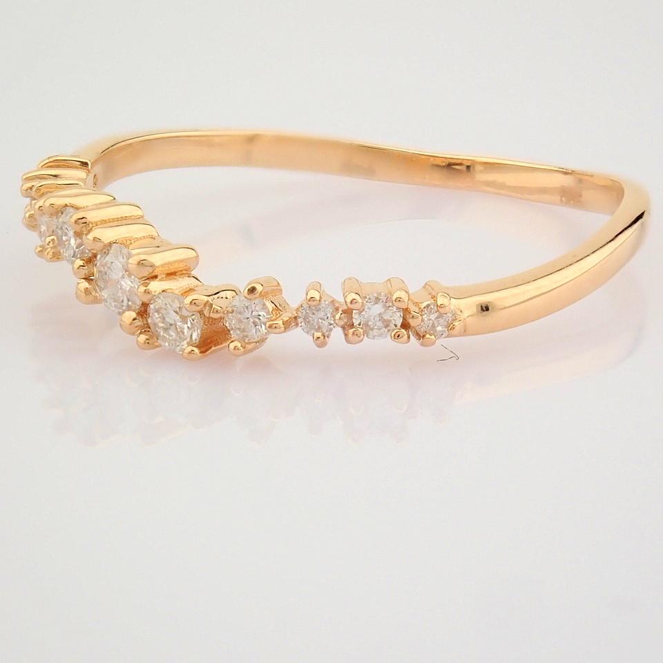 HRD Antwerp Certified 14K Rose/Pink Gold Diamond Ring (Total 0.21 Ct. Stone) 14K Rose/Pink Gold Ring - Image 6 of 10